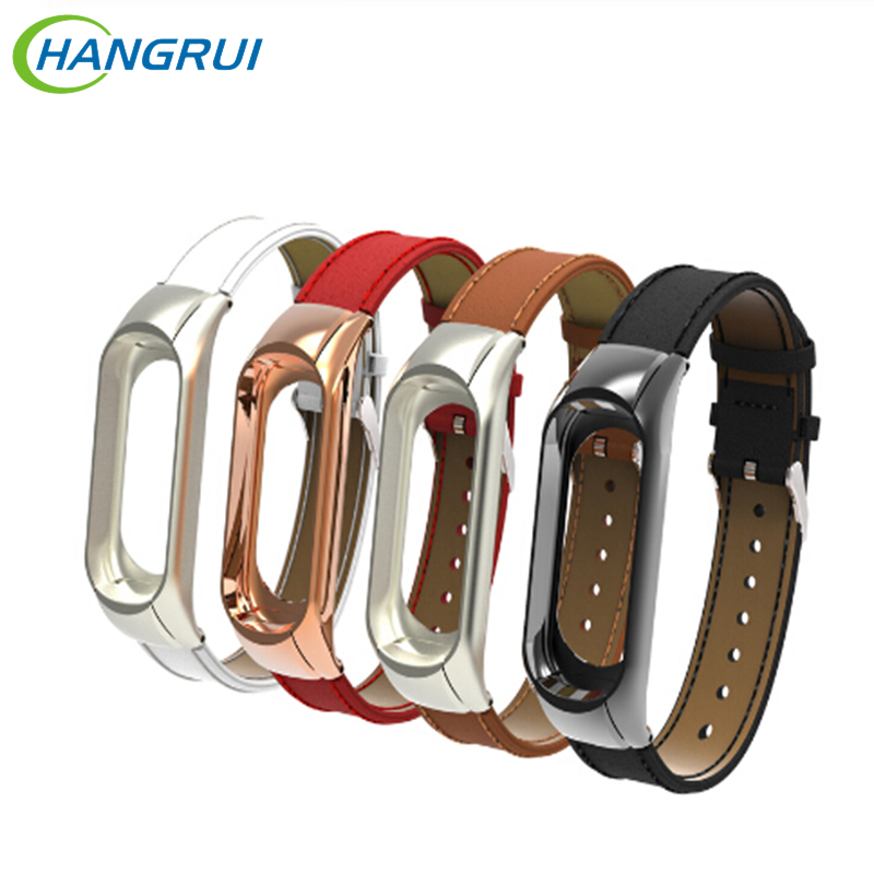 Hangrui Mi Band 4 Bracelet Genuine Leather Strap For Xiaomi Mi Band 4 3 Fitness Tracker Colorful Wristbands Mi Band4 MiBand 3