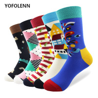5 Pair lot Long Tube Colored Cartoon Socks High Quality Combed Cotton Crazy Novelty Happy Skateboard