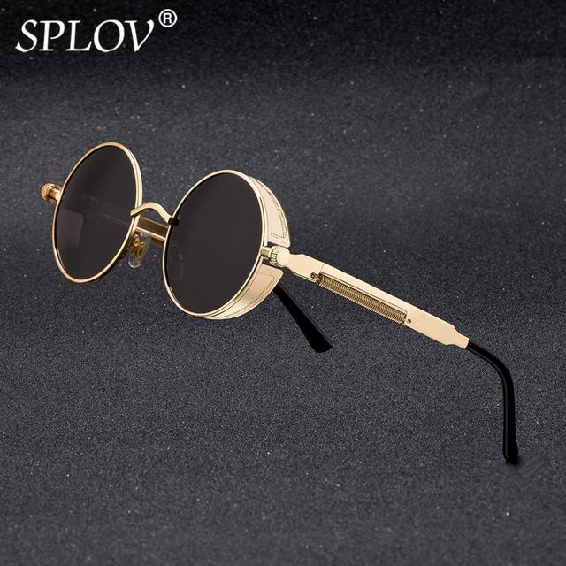 ca213cb1c SPLOV Vintage Round Polarized Sunglasses Retro Steampunk Sun Glasses for Men  Women Small Metal Circle Driving Glasses UV400