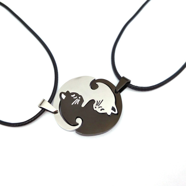 Hzew nette Paare Schmuck tier Halsketten Schwarz weiß Paar Halskette katze Anhänger Halskette