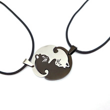 Black White Couple Necklace Cat Pendants Necklace