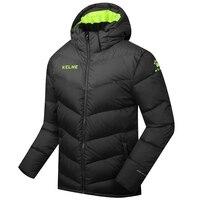 Wholesale 2016 Kelme K090S Men Medium Long Hooded Winter Keep Warm Coat Training Sport Football Down