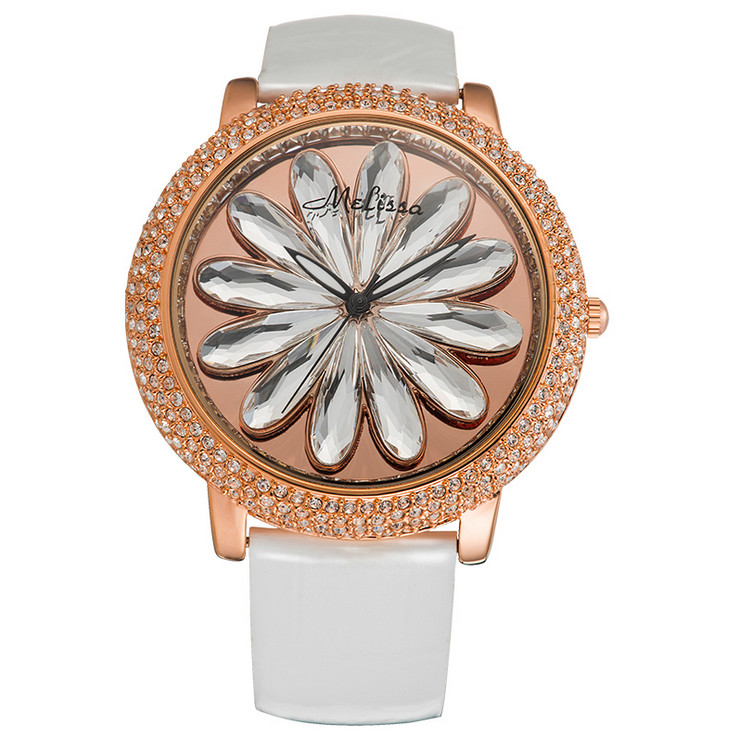 GOOD LUCK Rotating Daisy Crystal Watches Imported Quartz MELISSA Dress Wrist watch Real Leather Relogios Feminino Montre MP523