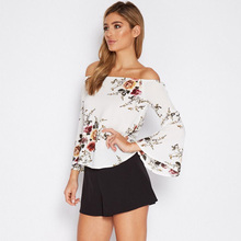 women blouses long Flare Sleeve Floral Slash neck cold off shoulder top Fashion woman white shirt summer blouse clothing