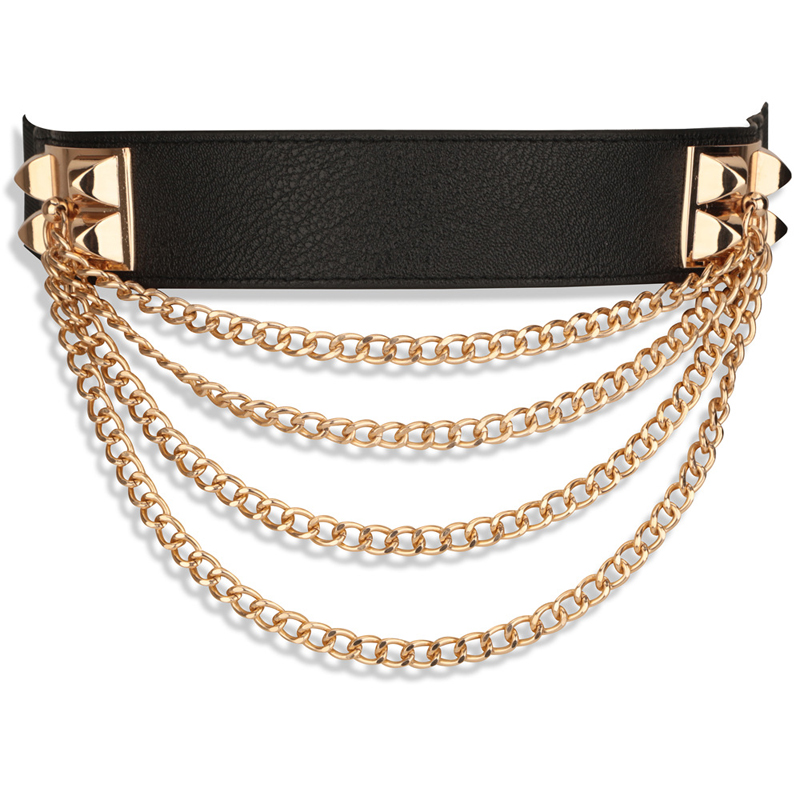 New Waistband Womens Elastic waist Stretch Belts Metal belt Corset Waist Belts Waistband Metal four chain Apparel Accessories