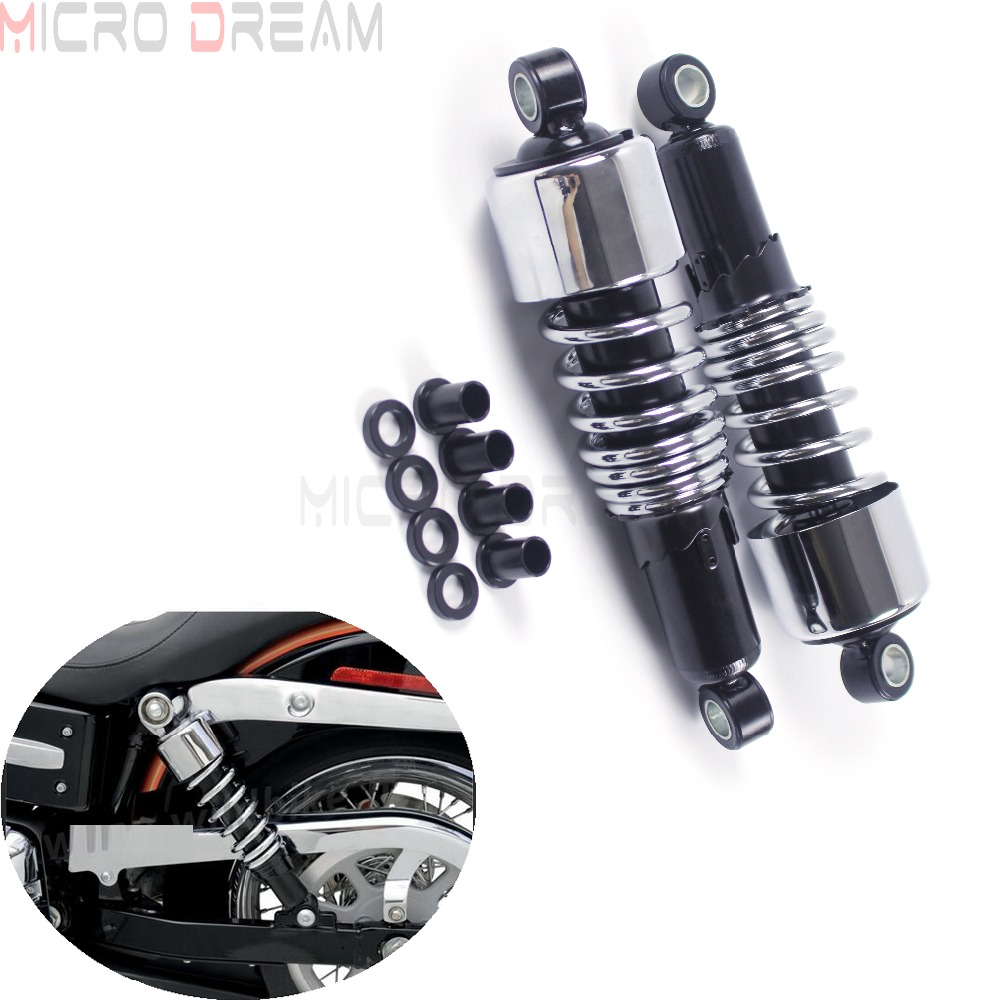 Pair Chrome Rear Suspension Shocks 267mm/10.5 Motorcycles Progressive Absorber For Harley Dyna Touring Sportster XL  1988-2017Pair Chrome Rear Suspension Shocks 267mm/10.5 Motorcycles Progressive Absorber For Harley Dyna Touring Sportster XL  1988-2017