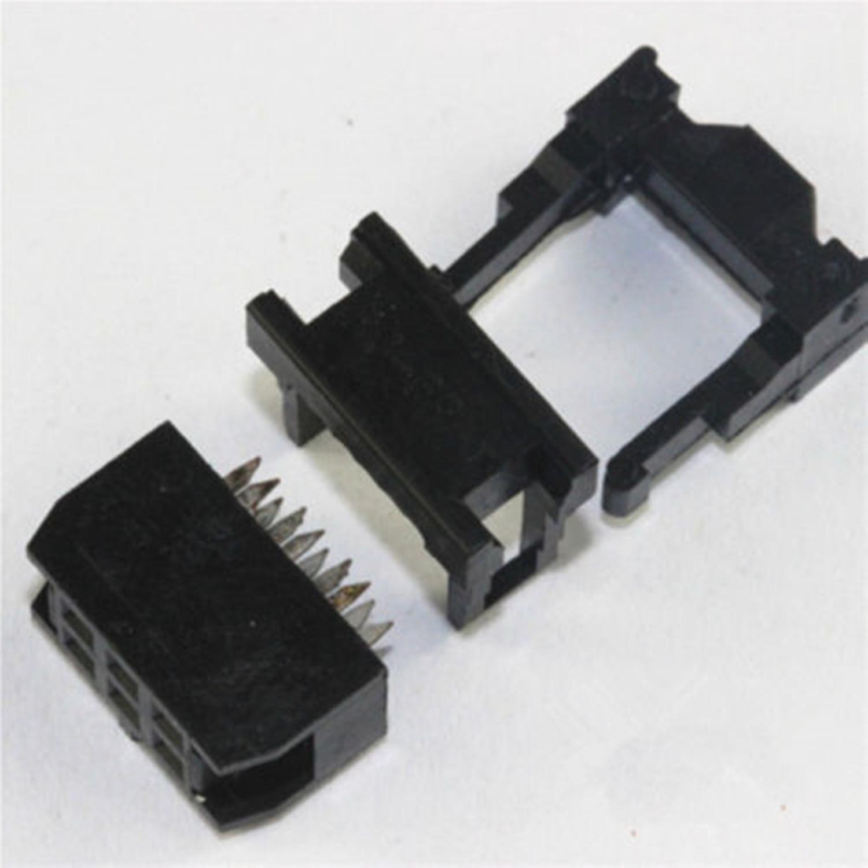 10PCS FC-6P 2x3Pin Dual Row Pitch 2.54mm IDC Socket Connector Female Header 6-pin cable socket 10 pcs idc fc pitch 2 0mm 34 pin cable female header socket connector 2x17 pin
