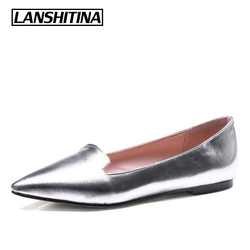 LANSHITINA Women Flat Shoes Loafers Fashion Woman Leisure Pointed Toe Flats Casual Femme Shoes Lady Bright Color Size 32-43 1062 weweya 2017 summer candy colors ladies flats fashion pointed toe shoes woman new flat shoes women plus size chaussure femme