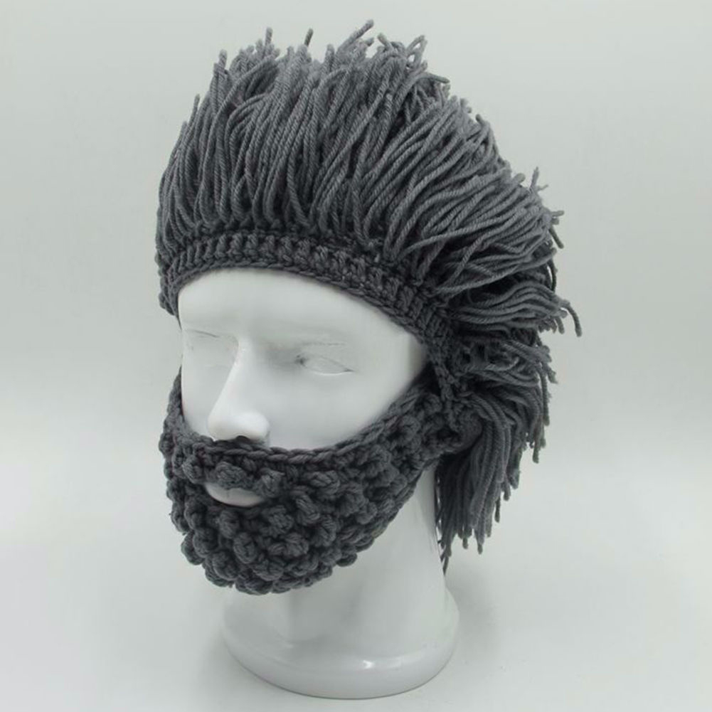 NaroFace Handmade Knitted Men Winter Crochet Mustache Hat Beard Beanies Face Tassel Bicycle Mask Ski Warm Cap Funny Hat Gift