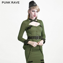 Punk Rave Uniform Styele Collar Less Shirt Sexy GREEN Military Style Button Up Latest Snew Model Shirts