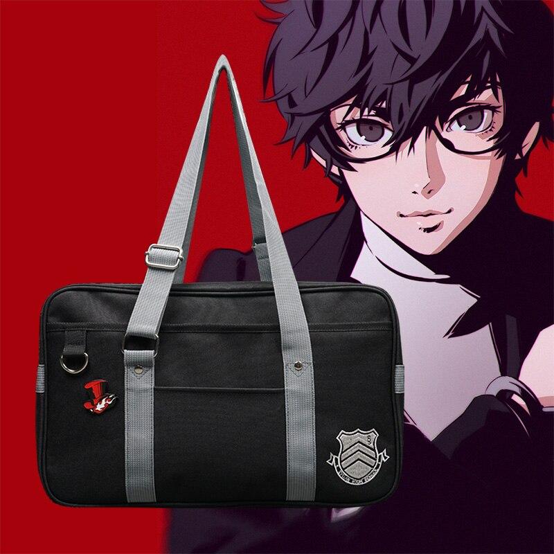 IGamer 40cm Persona 5 Canvas School Bag Persona5 Messenger Bag Joker Panther Skull Fox Akira Kurusu Shoulder Bag Cosplay Props