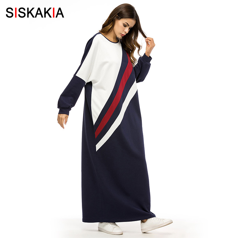 159c663586c24 US $29.69 40% OFF|Siskakia Fashion Colored Striped Patchwork Women long  Dress Autumn Winter 2018 Casual T Shirt Dresses Maxi Plus Size Long  Sleeve-in ...