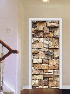 Image 5 - Pegatina de puerta de ladrillo de piedra clásica, cubierta de puerta de refrigerador DIY de templo Retro, pegatina de vinilo para nevera, pegatinas de pared autoadhesivas para Mural