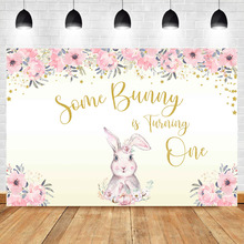 NeoBack Pink Flower Baby Nowborn First Birthday Party Photography Background Gold Little Star Cute Rabbit Backdrops