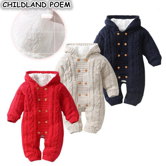 Winter Infant Baby Rompers Clothes Thick Newborn Baby Boy Girl Romper Knitted Baby Jumpsuit Overalls Hooded Toddler Outerwear baby clothing summer infant newborn baby romper short sleeve girl boys jumpsuit new born baby clothes