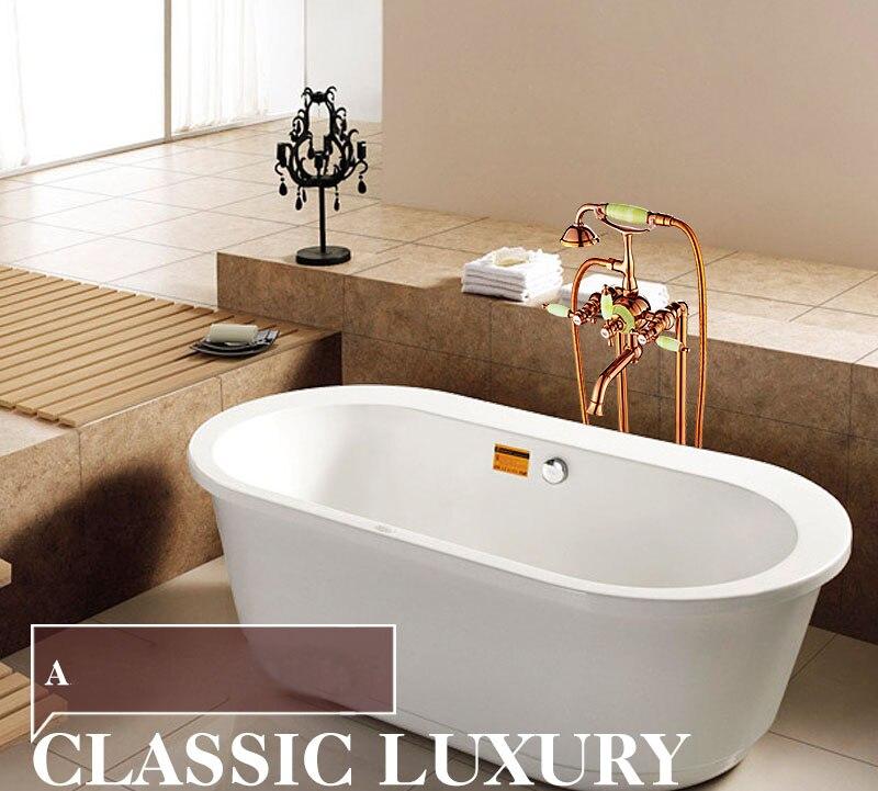Golden Polished Floor Mounted Standing Oil Rubbed Bronze Bathtub Faucet Bathroom Triple Handle Shower Bath Tub Filler Mixer Tap