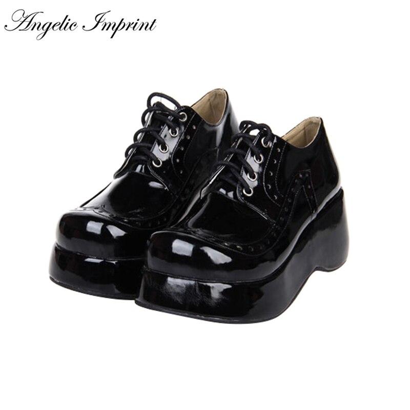 Japanese Harajuku HOT SELL Punk Lolita Cosplay Lace-up Wedge Shoes anime cosplay shoes tokyo ghouls kirishima lolita punk touka punk japanese single shoes kamishiro rize shoes custom made