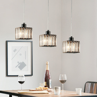 DX Modern Led Pendant Lights Dining Room Lights Crystal Lighting Fixture Iron Lamp Creative Square Luminaire Black White Luster