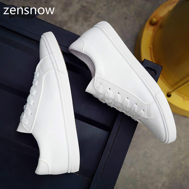 zensnow 2017 Spring And Summer New White Shoes Women Fashion Flat Leather Canvas Shoes Female White Board Shoes Casual Shoes free shipping new spring and summer fashion men s denim jeans slim wear white pantyhose feet