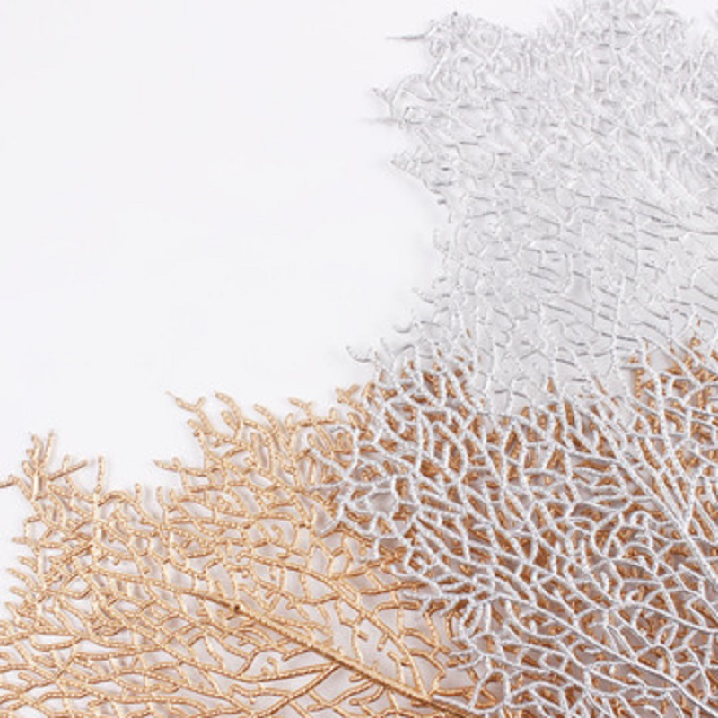 6PCS Gold Decorated Placemat Coral-twig Table Mat Delicate Tree Branch Eat Mat C