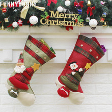 FUNNYBUNNY Christmas Bag 3D Santa Gift Claus Sock Decor Candy Stocking Hanging Ornaments Pendant