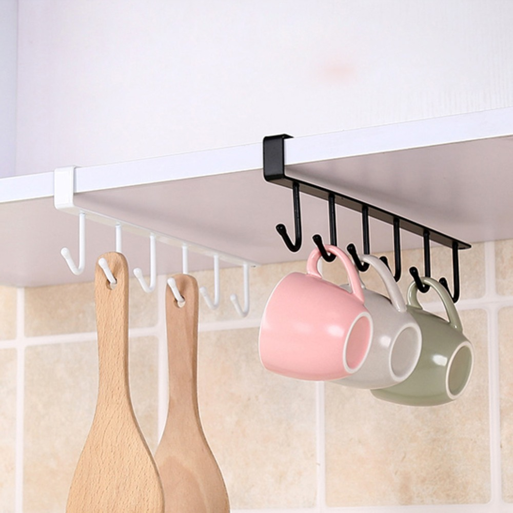 Kitchen Cupboard Storage Rack Cupboard Shelf Hanging Hook Organizer Closet Clothes Glass Mug Shelf Hanger Wardrobe Holder