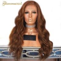 Перуанский объемная волна Синтетические волосы на кружеве человеческих волос парики блондинки #30 для Для женщин Волосы remy парики из натура