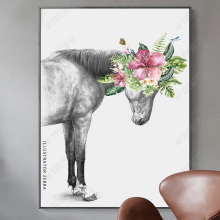 New Chinese Horse Flowers Wall Art Canvas Painting Modern Nordic Poster Leaf Pictures For Living Room Animals Prints Unframed