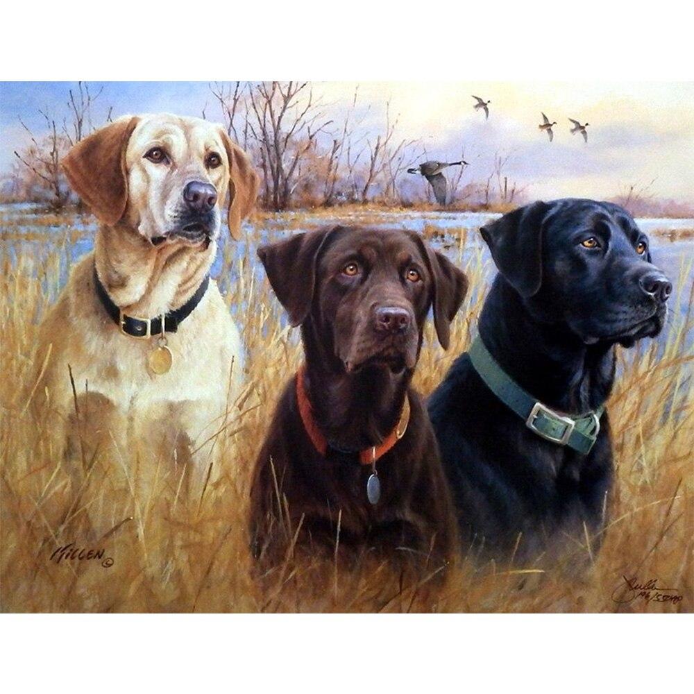 DIY Diamond Embroidery Digital Painting Three Dogs in the Field Image Inlaid Diamonds All Rhinestones Mosaic Wall Stickers Z218