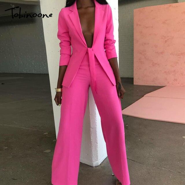 Tobinoone 2018 סתיו חורף שתי חתיכות סט נשים אופנה מסלול חליפת שרוול ארוך מזדמן נשים אימונית למעלה ומכנסיים סט ליידי