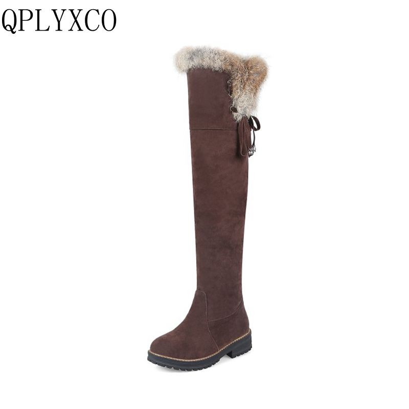 QPLYXCO Sale New Fashion Big Size 34-44 Russia Women Winter Warm Snow Long Boots Ladies Sweet High Botas Round Toe Shoes 1770