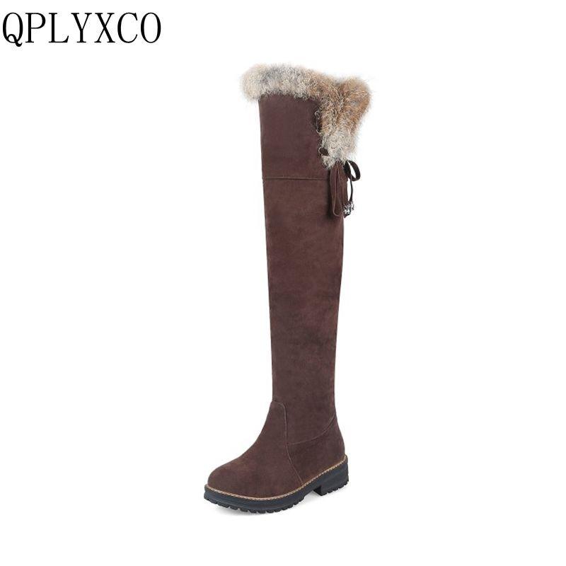 QPLYXCO Sale New fashion Big Size 34-44 Russia Women Winter Warm Snow Long Boots Ladies Sweet high Botas Round Toe Shoes 1770 qplyxco 2017 sale big