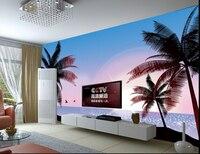 Пользовательские пейзаж обои, восход пляж фрески для гостиной, спальни ТВ фоне стены шелковая ткань Papel де Parede