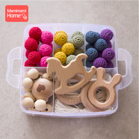 60pc Baby Wood Teether Diy Nursing Bracelets Necklace Beech Rodent Ring Crochet Bead Pacifier Pendant Chain Clip Baby Rattle Toy