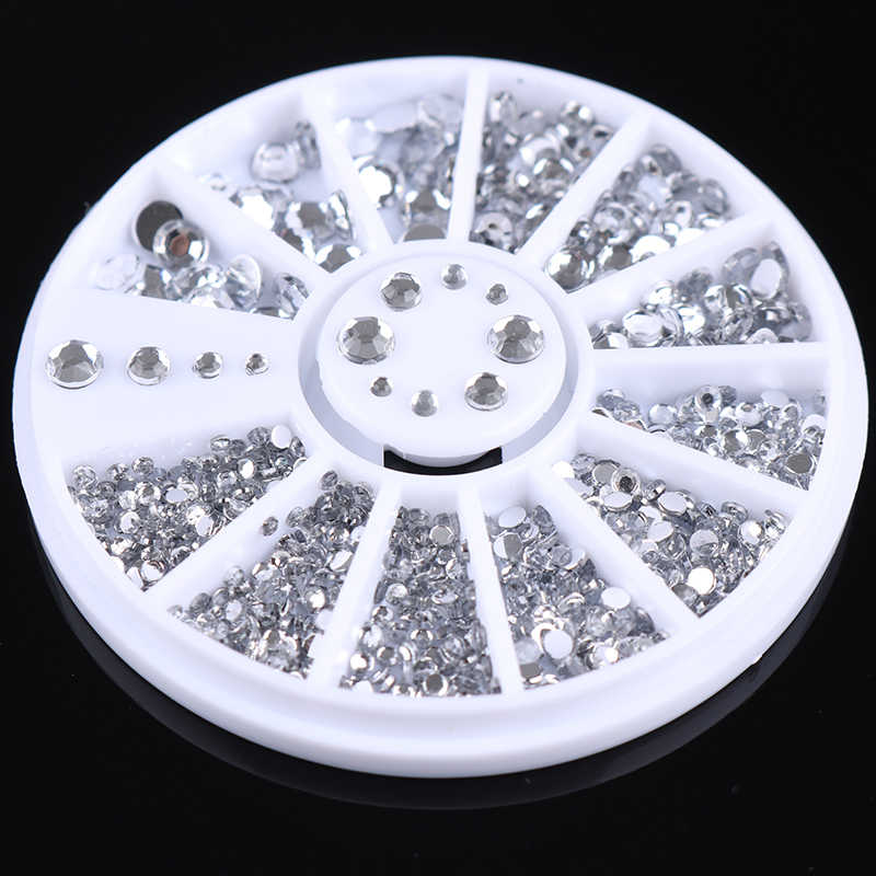 400 Pcs Clear Crystal Glitter Nail Decoration Studs 12g Grids for UV Gel Polish Nail Art Design 3D Flatback 1 Box In Wheel
