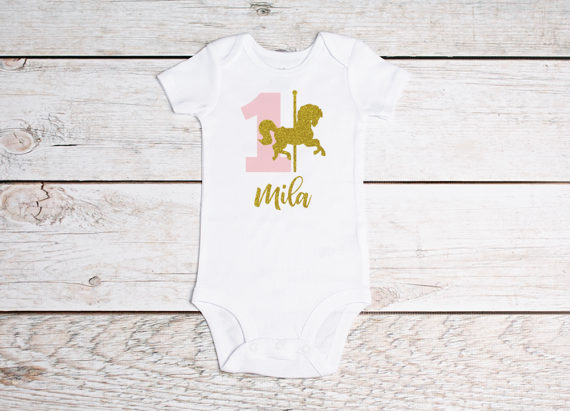 e1eda2f0c53 personalized name Carousel horse 1st birthday baby bodysuit onepiece romper  Outfit baby shower New Year party favors -in Party Favors from Home    Garden on ...