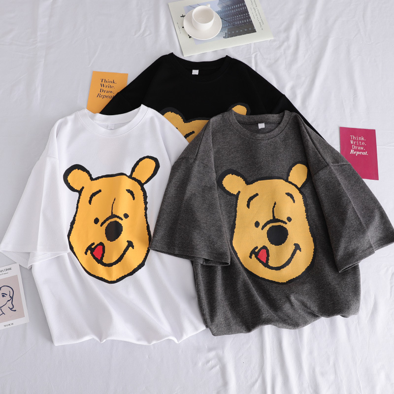 2019 Summer Women T-shirt Korea Cartoon Bear Print T-shirt O Neck Loose Women T-shirt