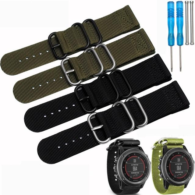 2f8920365f3 Garmin Fenix 3 Nylon 26mm Pulseira de Luxo Nylon Nato Strap Watch Banda  Substituição para homens