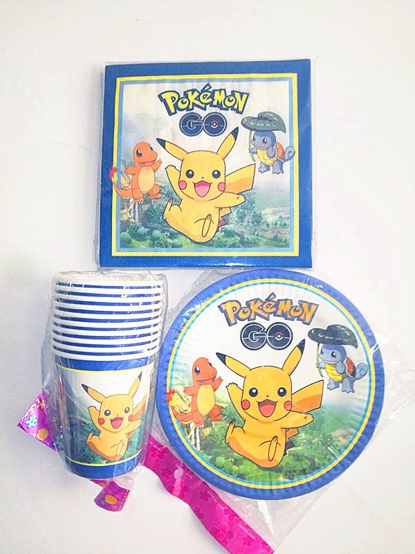 40 unids / lote fiesta de cumpleaños de los niños de dibujos animados Pikachu Pokemon 10 tazas + 10plates + 20paper toalla decoración del partido vajilla