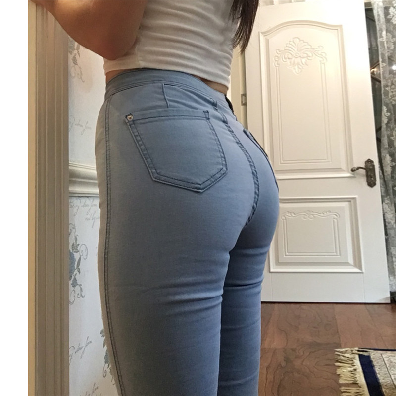 High Waist Denim women spring Pants high elastic Skinny Pencil Stretch Jeans