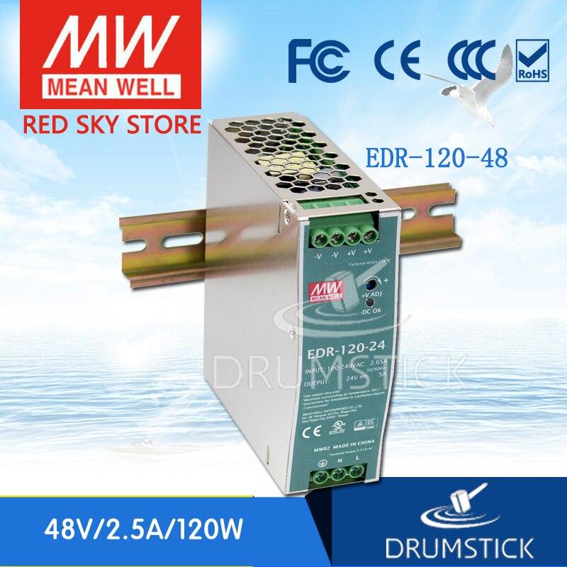 Selling Hot MEAN WELL EDR-120-48 48V 2.5A meanwell EDR-120 48V 120W Single Output Industrial DIN RAIL минипечь gefest пгэ 120 пгэ 120