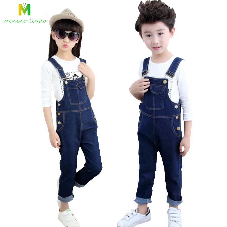 Kids Jeans 2-5T Boys Spring Cotton Jeans Children Long Trousers Girls Suspenders Boys Denim Bib Pants Child Outwear Clearnace