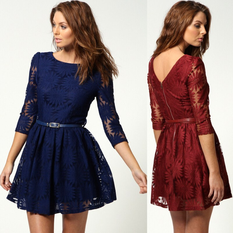 4def8bc14a47 Free Shipping Women Dress in Summer Style Navy Blue Red Wine Beige Lace  Dresses with 3/4 Long Sleeves Short Gown Hot Sale