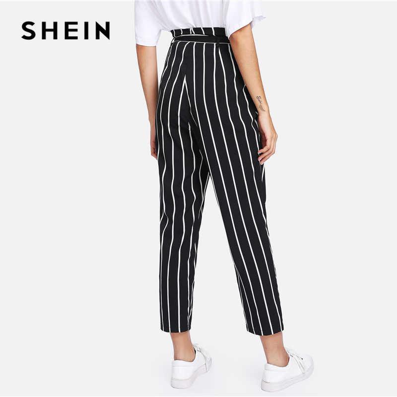 1d80feda5939 SHEIN cinturón a rayas Pantalones mujer alta moda ropa cintura cremallera  mosca pantalones 2018 primavera nuevos Casual zanahoria Pantalones