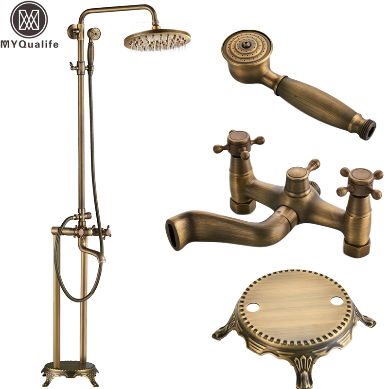 Floor Mounted Bath Tub Faucet Clawfoot Free Standing Bath Shower Mixer Tap with Handshower 8 Rainfall Shower System kemaidi floor standing bathtub faucets brass chrome free standing bath shower mixer set bath tub faucet with handshower