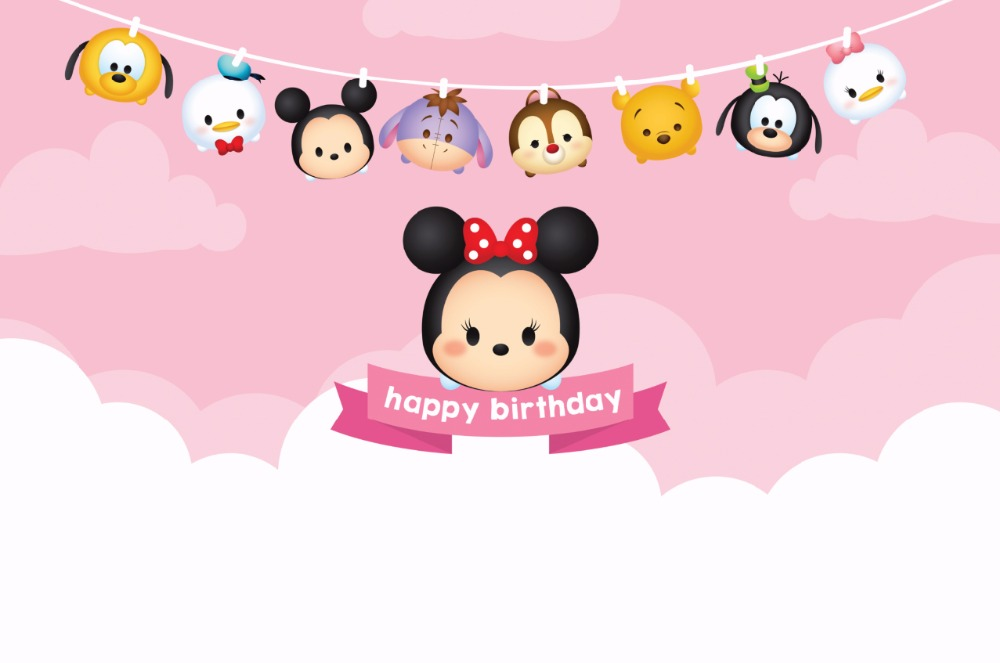 7x5FT Happy Birthday Tsum Tsum Pink Wall Custom Photo