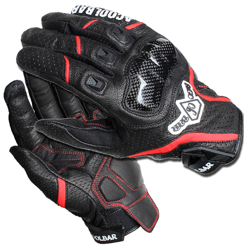 Brand Genuine Leather Carbon Fiber Breathable Motorcycle Glove Motocross off road Racing Protective Glove Outdoor Cycling