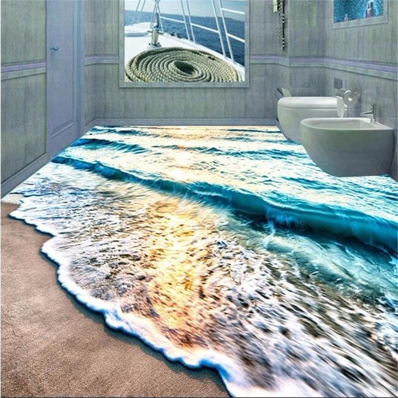 цена  beibehang flooring wall paper mural Beach blue sea water ripples non-slip waterproof thickened pvc self adhesive wallpaper roll  онлайн в 2017 году