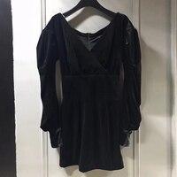 Черный Для женщин комбинезоны Осенние пикантные глубоким v образным вырезом с длинным рукавом Комбинезоны Для женщин 2018 г. Модные вечерние