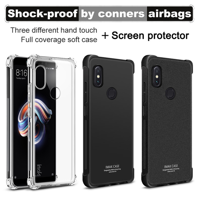 huge discount 1acfb a14cc US $6.17 5% OFF Xiaomi Redmi Note 5 Case Redmi Note 7 Case IMAK Shockproof  Silicone Soft TPU Cover For Redmi Note 6 Pro-in Fitted Cases from ...